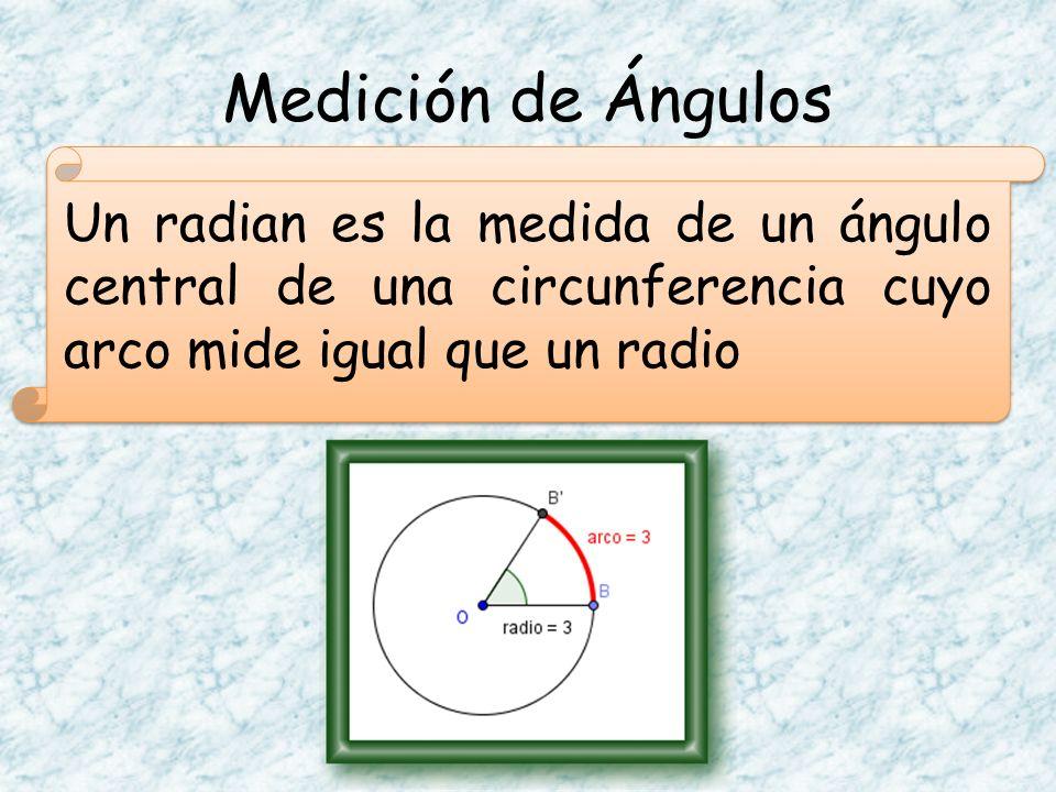 Medición de Ángulos Un radian es la medida de un ángulo central de una circunferencia cuyo arco mide igual que un radio.