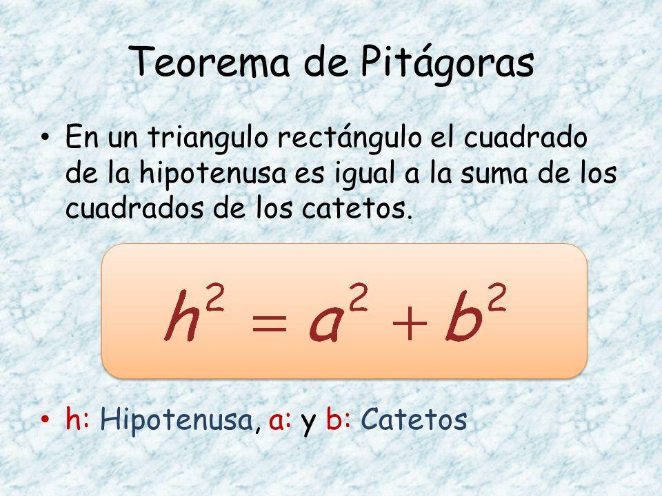 Teorema de Pitágoras En un triangulo rectángulo el cuadrado de la hipotenusa es igual a la suma de los cuadrados de los catetos.