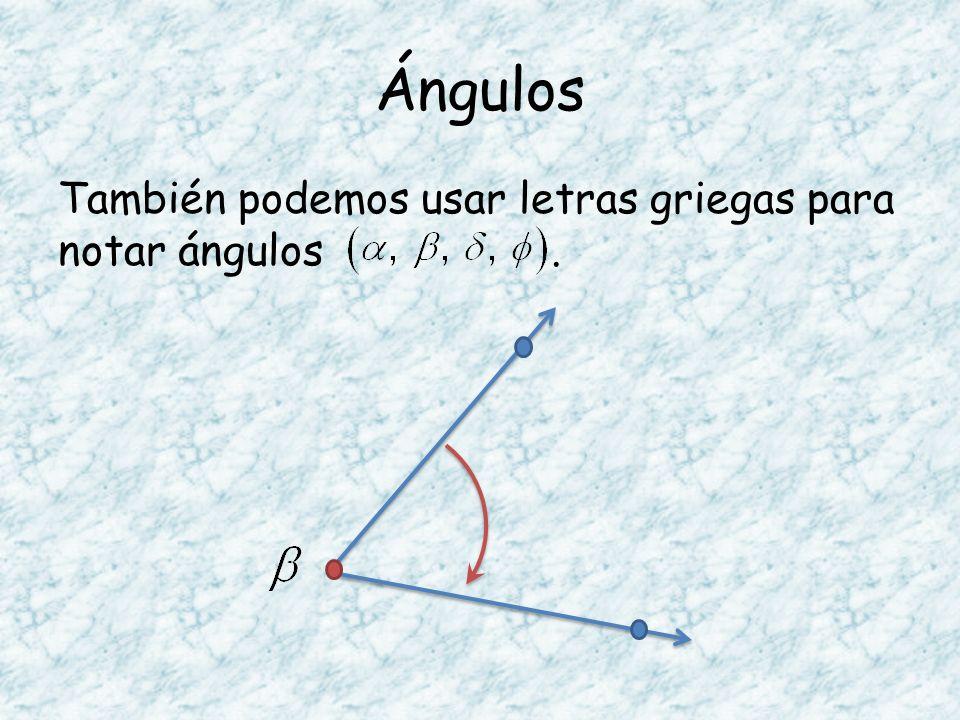 Ángulos También podemos usar letras griegas para notar ángulos .