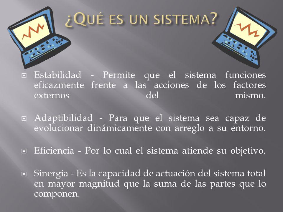 ¿Qué es un sistema Estabilidad - Permite que el sistema funciones eficazmente frente a las acciones de los factores externos del mismo.