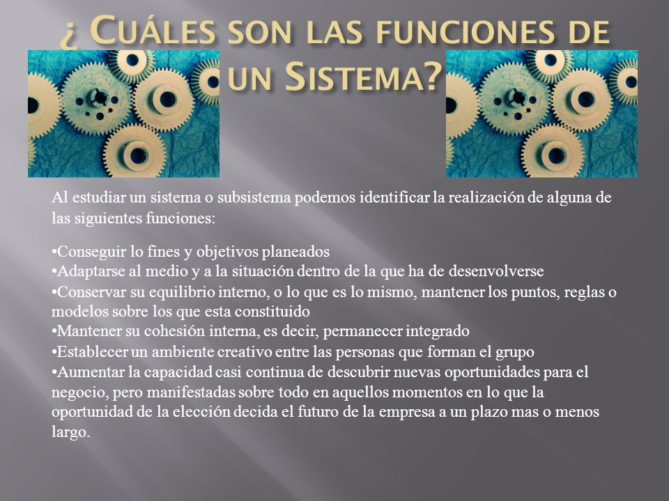 ¿ Cuáles son las funciones de un Sistema