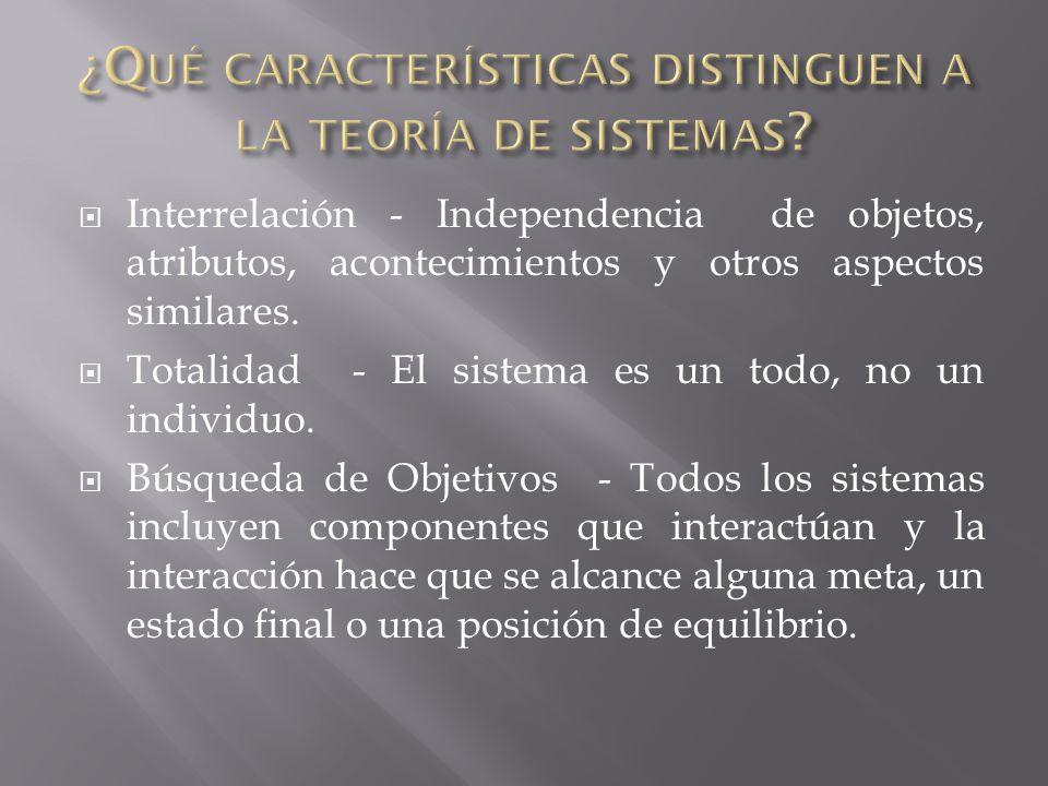 ¿Qué características distinguen a la teoría de sistemas