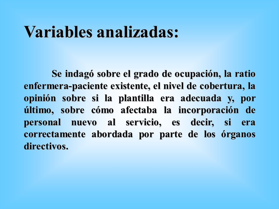 Variables analizadas: