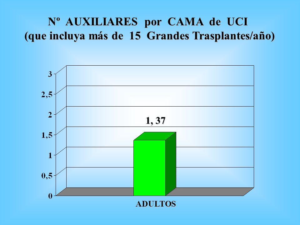 Nº AUXILIARES por CAMA de UCI