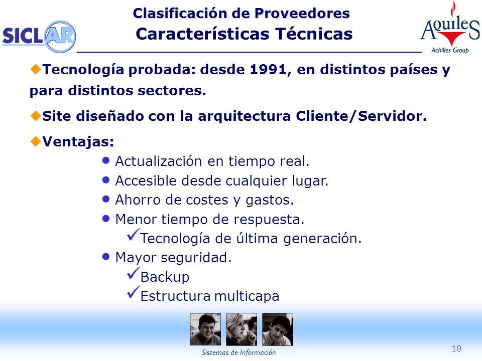 Clasificación de Proveedores Características Técnicas