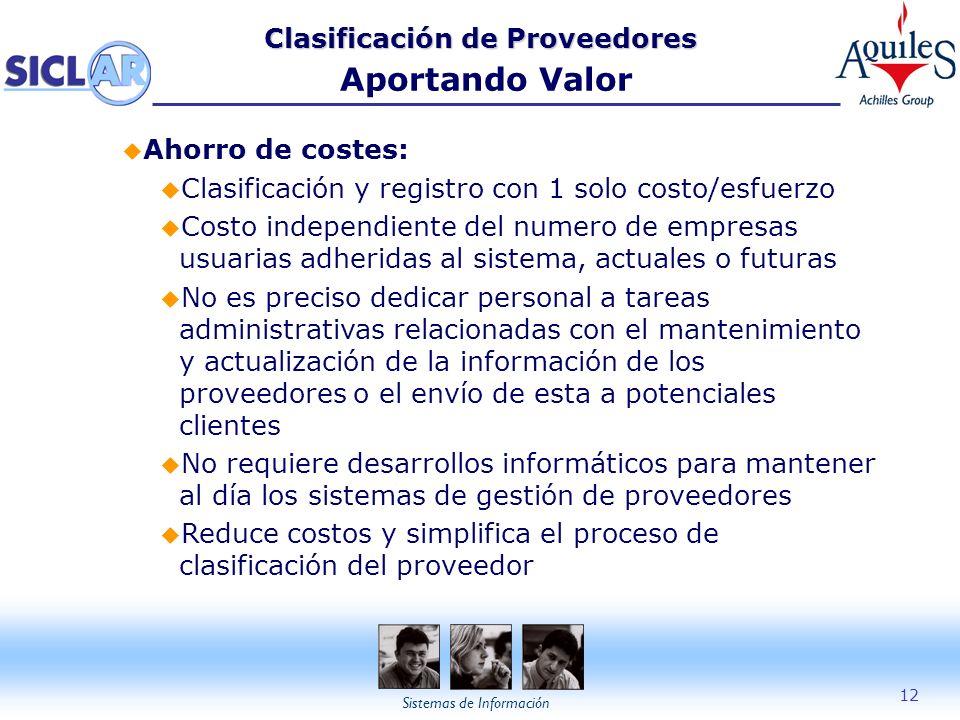 Clasificación de Proveedores Aportando Valor