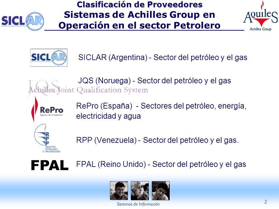Clasificación de Proveedores Sistemas de Achilles Group en Operación en el sector Petrolero