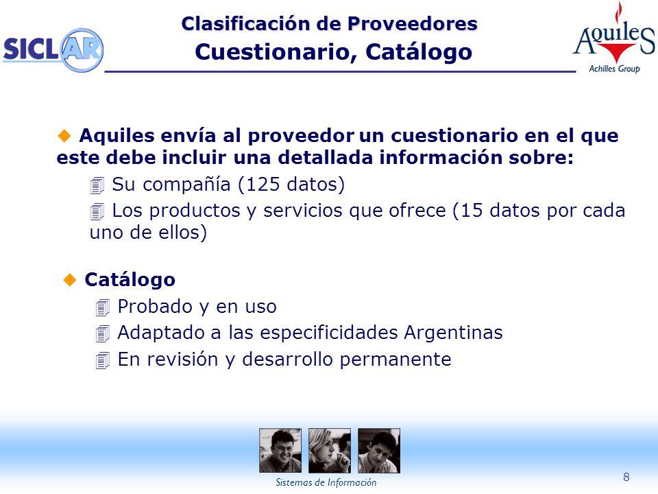 Clasificación de Proveedores Cuestionario, Catálogo