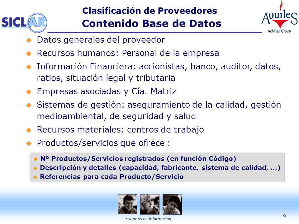 Clasificación de Proveedores Contenido Base de Datos