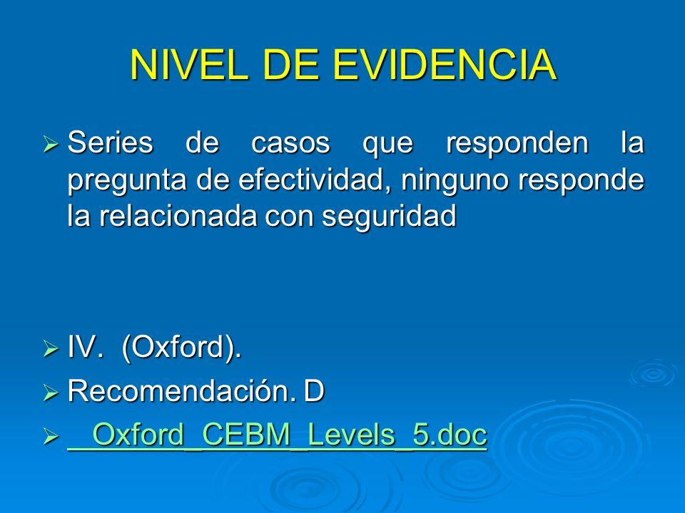 NIVEL DE EVIDENCIA Series de casos que responden la pregunta de efectividad, ninguno responde la relacionada con seguridad.
