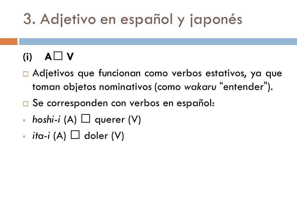 3. Adjetivo en español y japonés