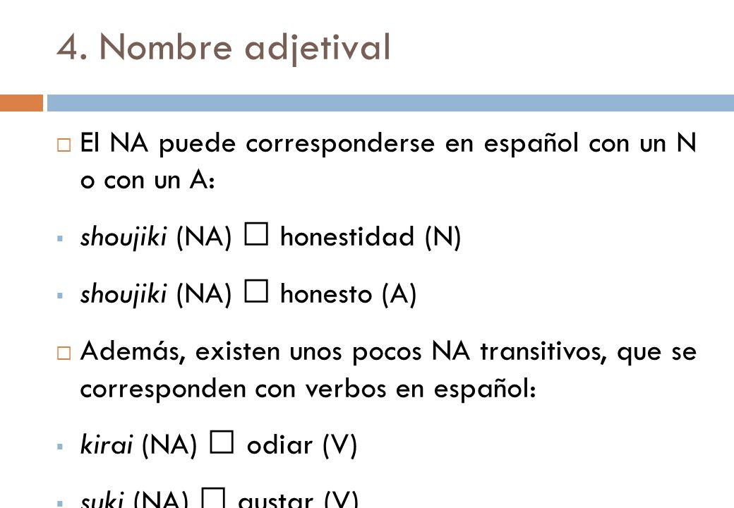 4. Nombre adjetival El NA puede corresponderse en español con un N o con un A: shoujiki (NA)  honestidad (N)