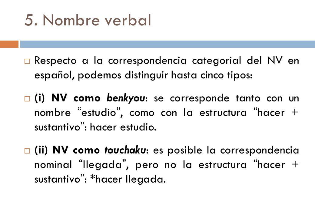 5. Nombre verbal Respecto a la correspondencia categorial del NV en español, podemos distinguir hasta cinco tipos: