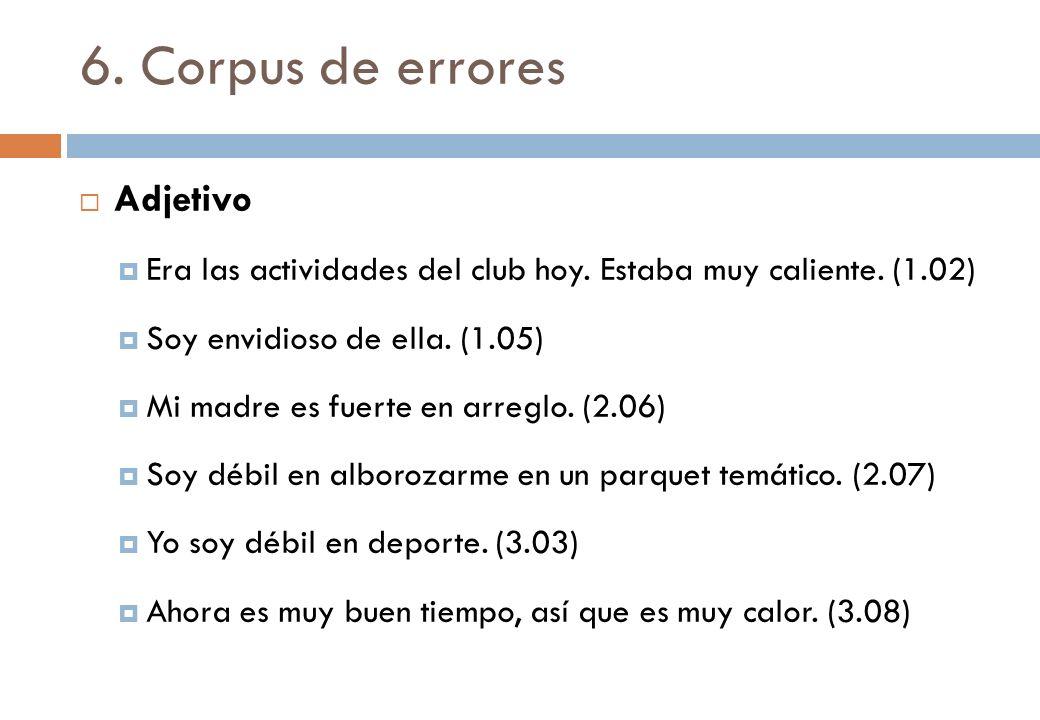 6. Corpus de errores Adjetivo