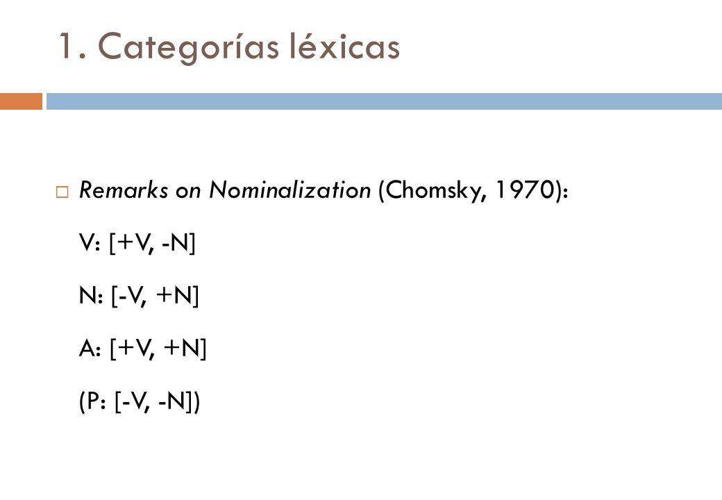 1. Categorías léxicas Remarks on Nominalization (Chomsky, 1970):