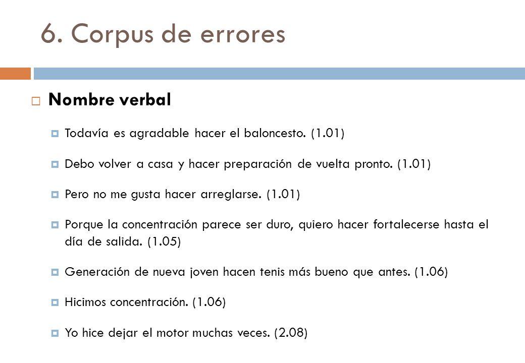 6. Corpus de errores Nombre verbal