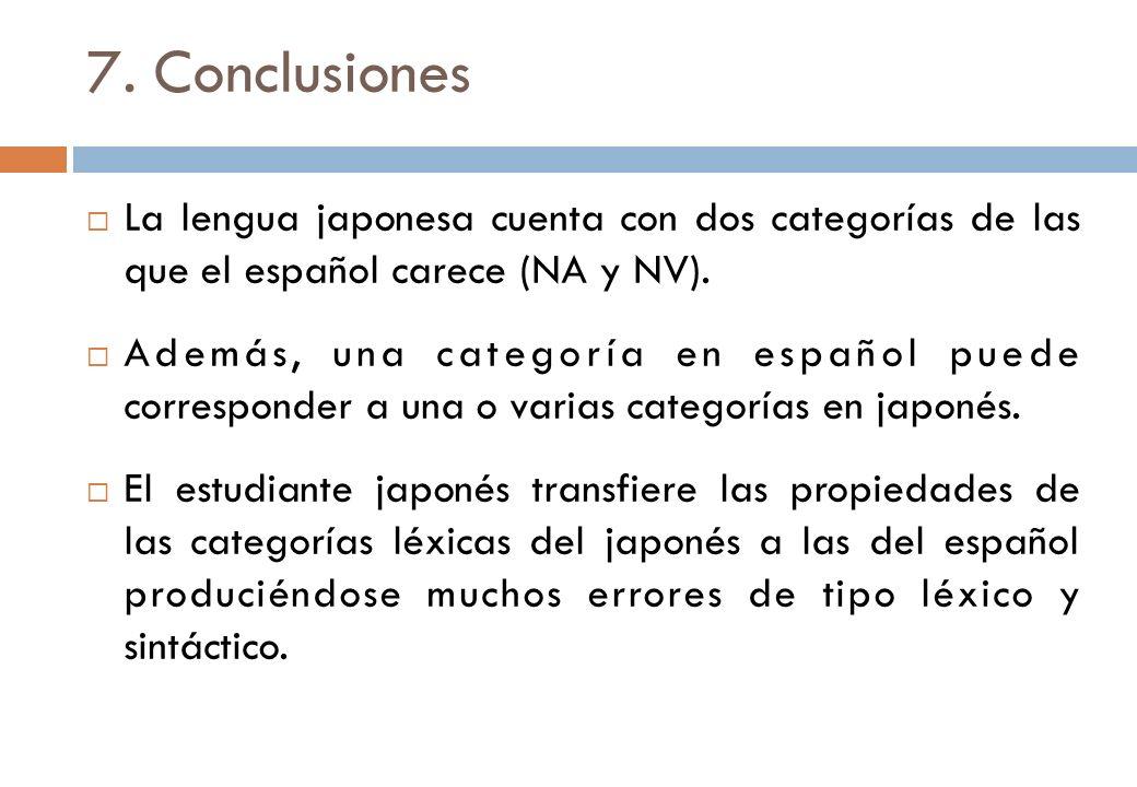 7. Conclusiones La lengua japonesa cuenta con dos categorías de las que el español carece (NA y NV).
