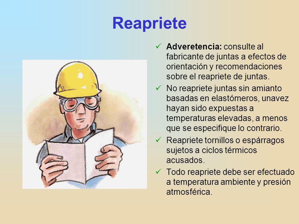 Reapriete Adveretencia: consulte al fabricante de juntas a efectos de orientación y recomendaciones sobre el reapriete de juntas.