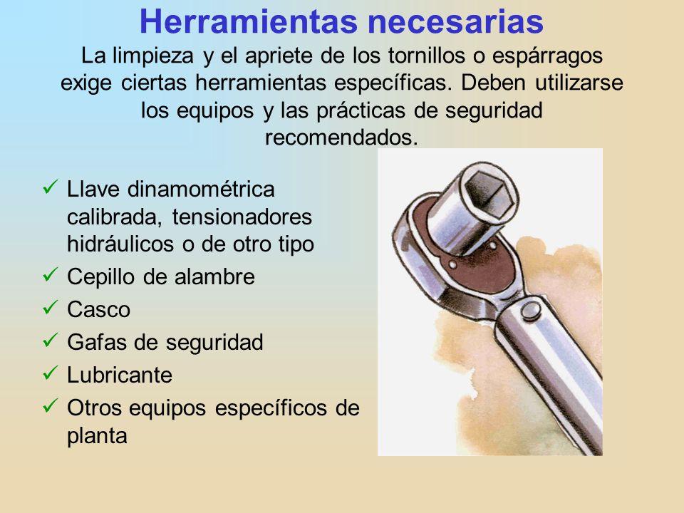 Herramientas necesarias La limpieza y el apriete de los tornillos o espárragos exige ciertas herramientas específicas. Deben utilizarse los equipos y las prácticas de seguridad recomendados.