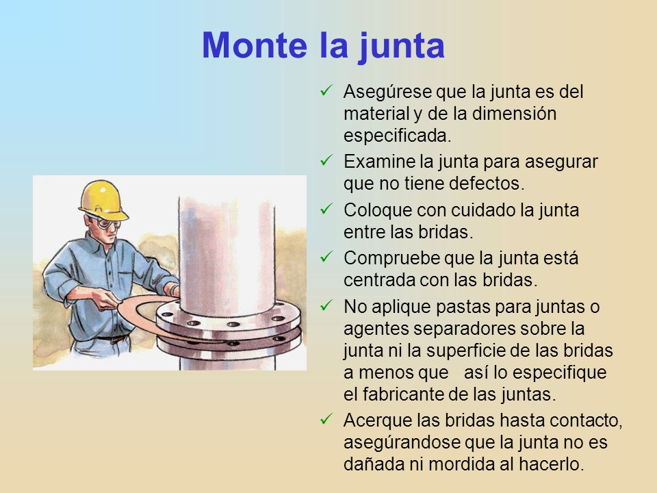 Monte la junta Asegúrese que la junta es del material y de la dimensión especificada. Examine la junta para asegurar que no tiene defectos.