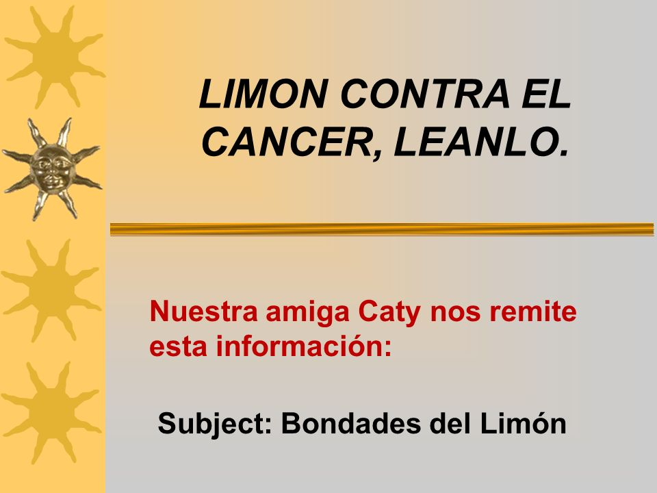 LIMON CONTRA EL CANCER, LEANLO.