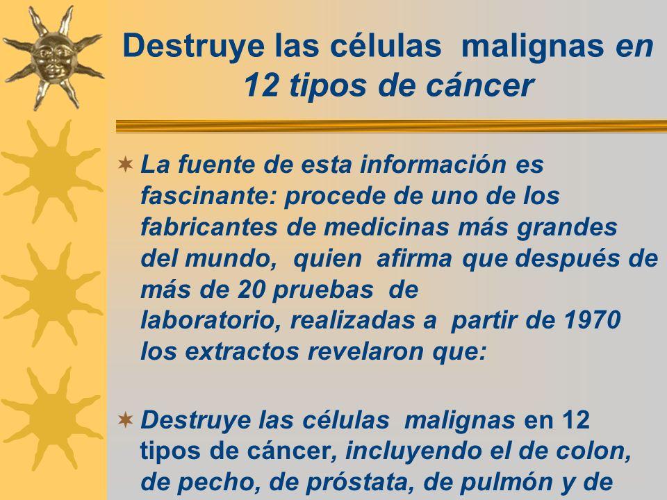 Destruye las células malignas en 12 tipos de cáncer