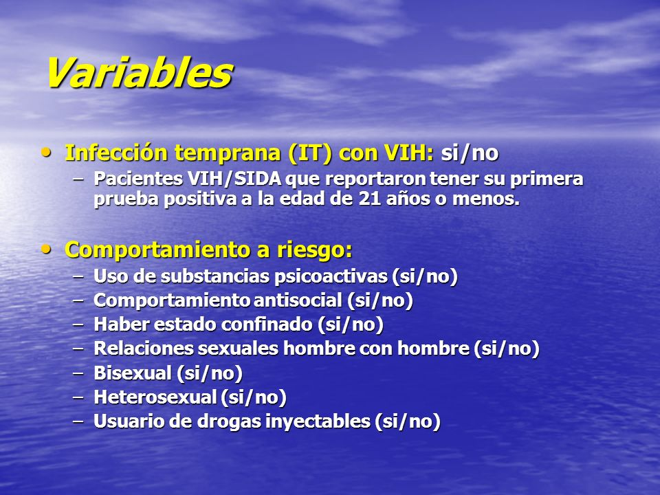 Variables Infección temprana (IT) con VIH: si/no
