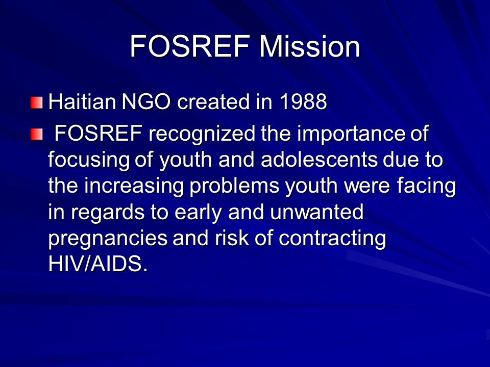FOSREF Mission Haitian NGO created in 1988