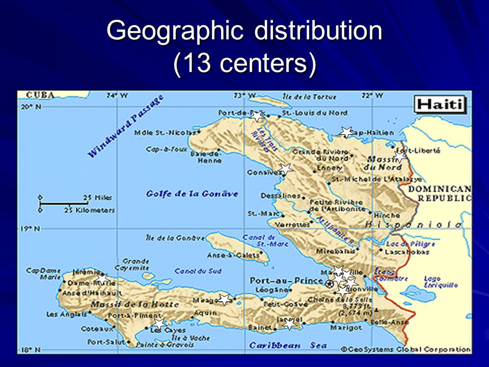 Geographic distribution (13 centers)