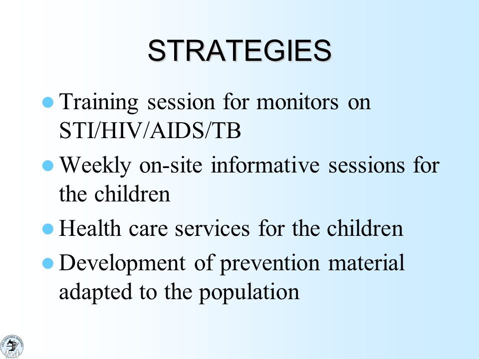 STRATEGIES Training session for monitors on STI/HIV/AIDS/TB