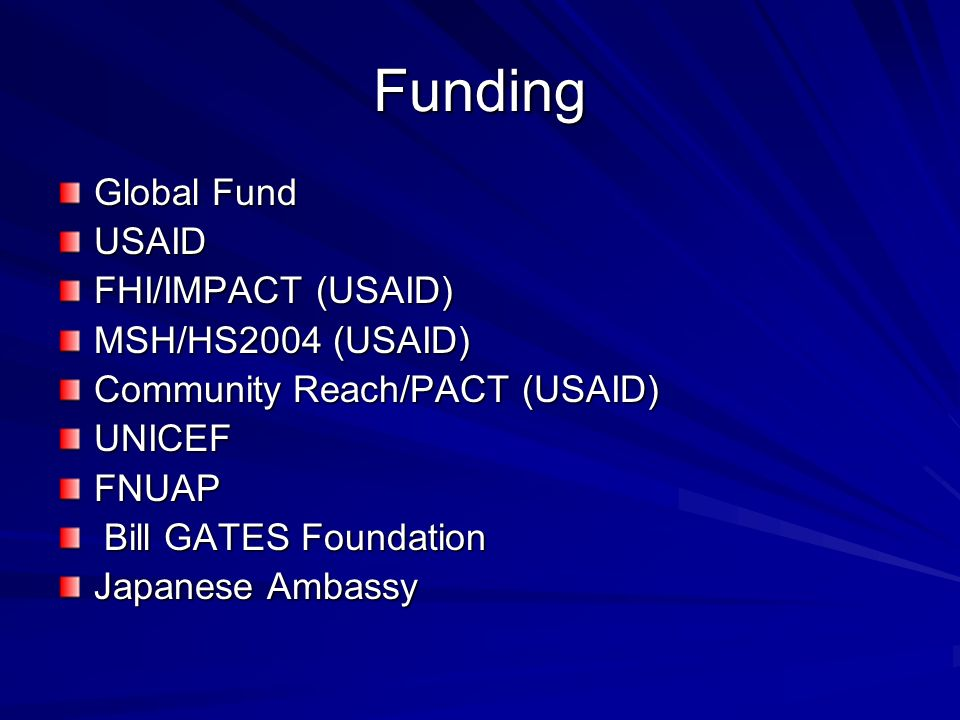 Funding Global Fund USAID FHI/IMPACT (USAID) MSH/HS2004 (USAID)