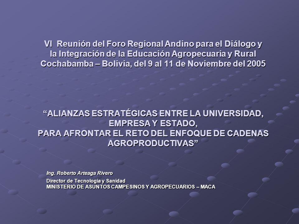 VI Reunión del Foro Regional Andino para el Diálogo y la Integración de la Educación Agropecuaria y Rural Cochabamba – Bolivia, del 9 al 11 de Noviembre del 2005 ALIANZAS ESTRATÉGICAS ENTRE LA UNIVERSIDAD, EMPRESA Y ESTADO, PARA AFRONTAR EL RETO DEL ENFOQUE DE CADENAS AGROPRODUCTIVAS
