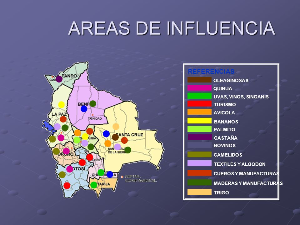 AREAS DE INFLUENCIA REFERENCIAS OLEAGINOSAS QUINUA