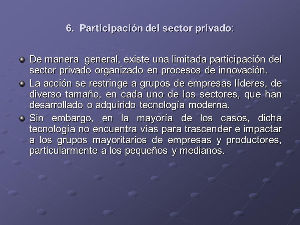 6. Participación del sector privado:
