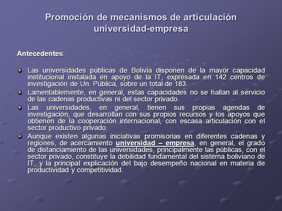 Promoción de mecanismos de articulación universidad-empresa