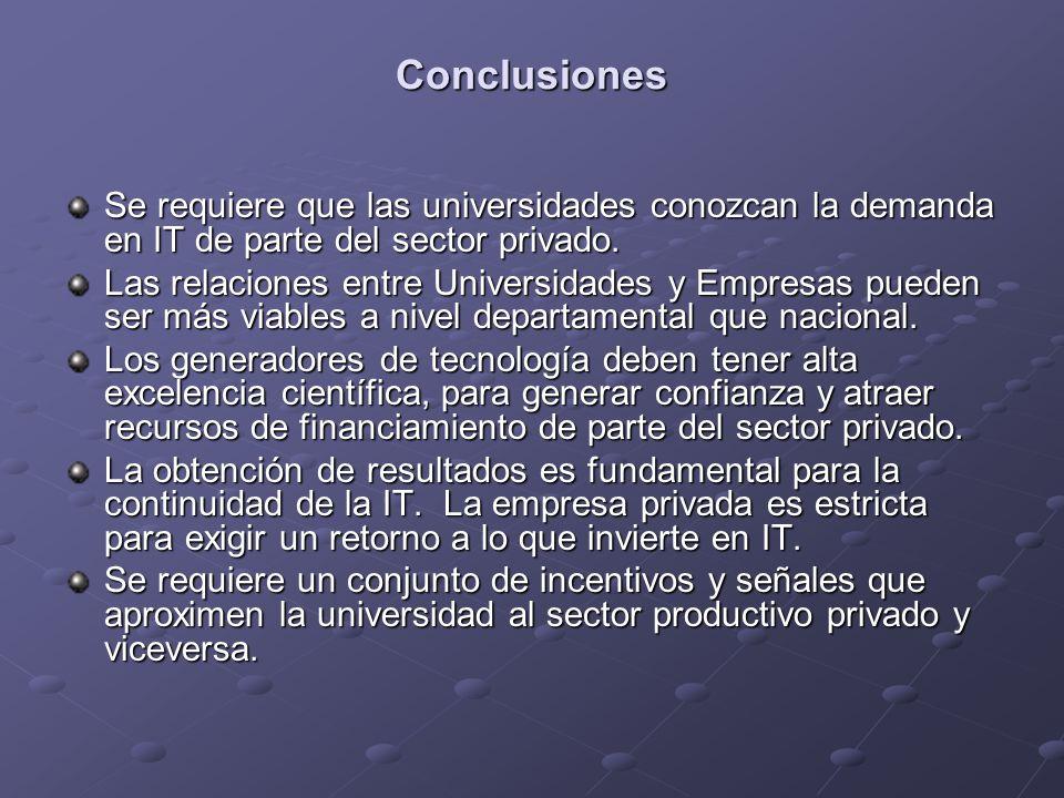 Conclusiones Se requiere que las universidades conozcan la demanda en IT de parte del sector privado.