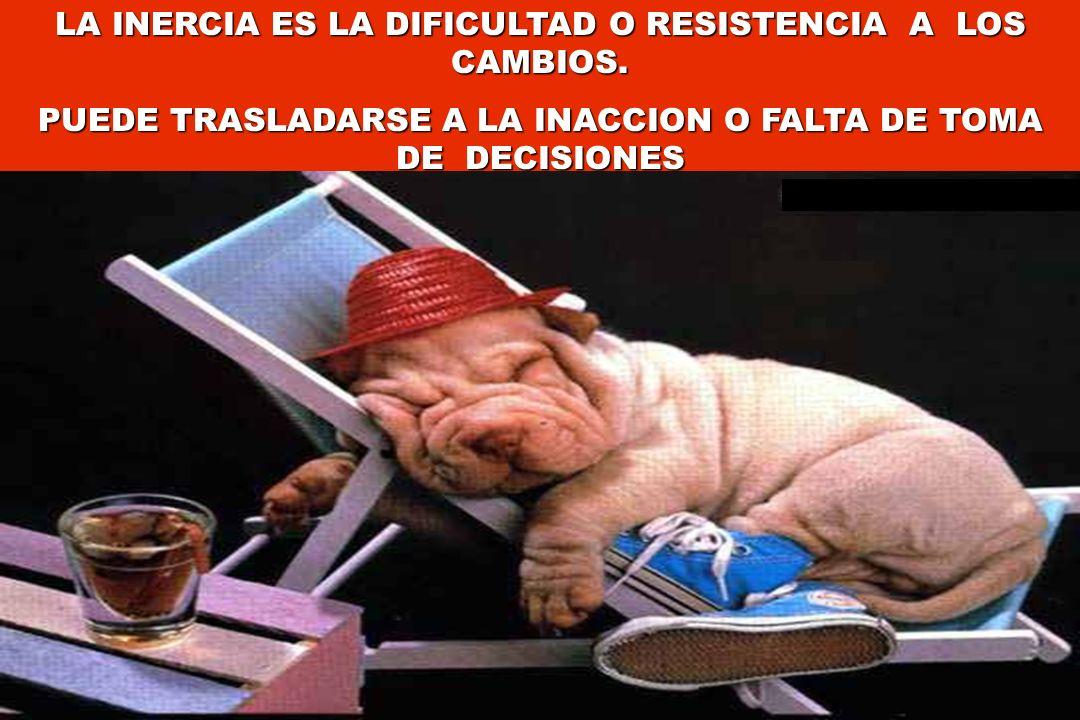 LA INERCIA ES LA DIFICULTAD O RESISTENCIA A LOS CAMBIOS.