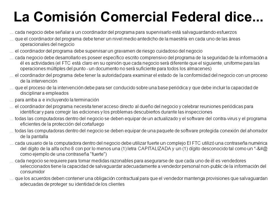 La Comisión Comercial Federal dice...
