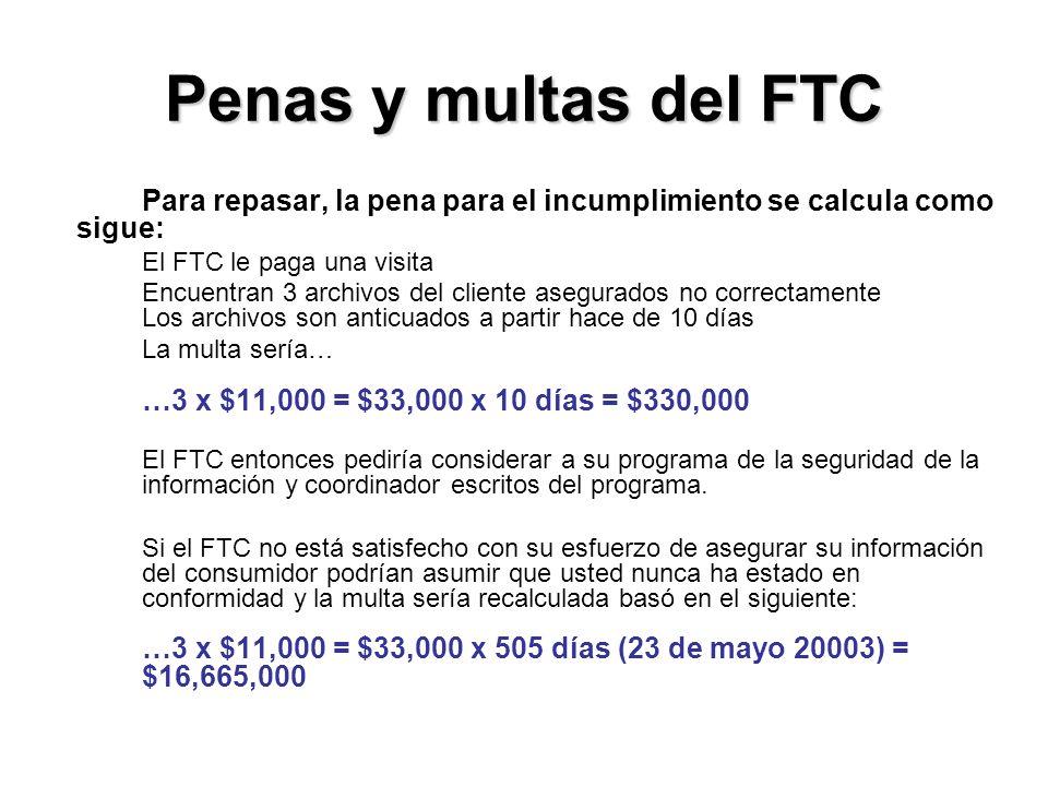 Penas y multas del FTC Para repasar, la pena para el incumplimiento se calcula como sigue: El FTC le paga una visita.
