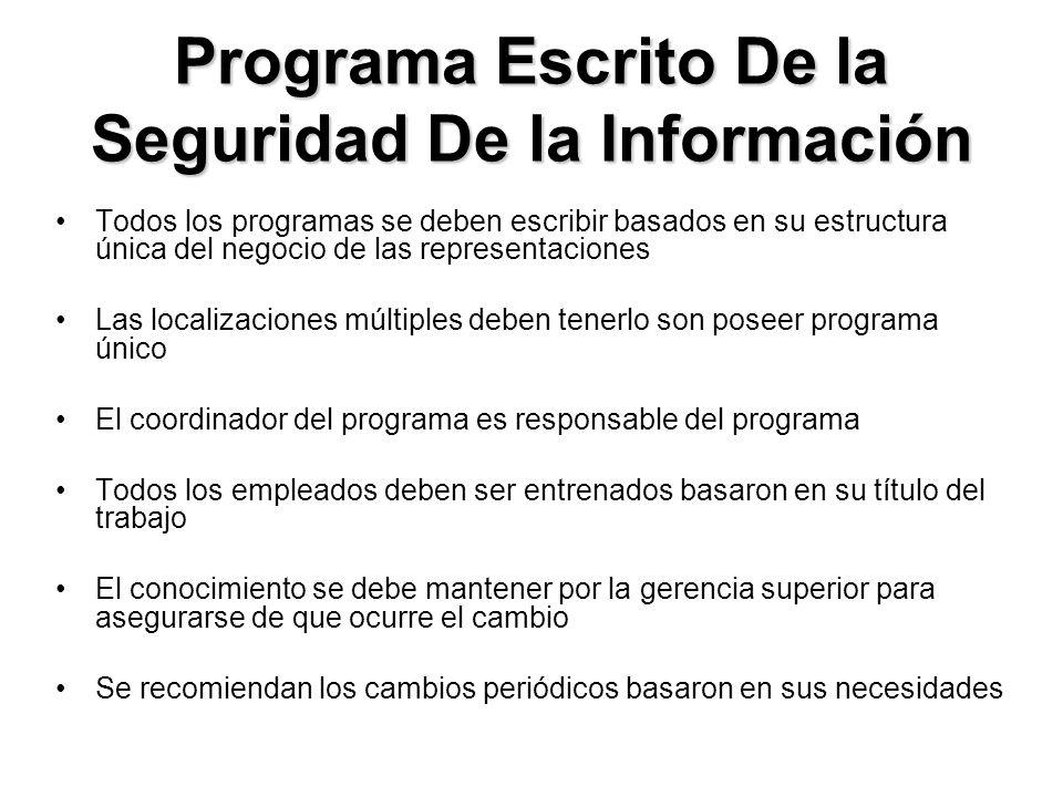 Programa Escrito De la Seguridad De la Información