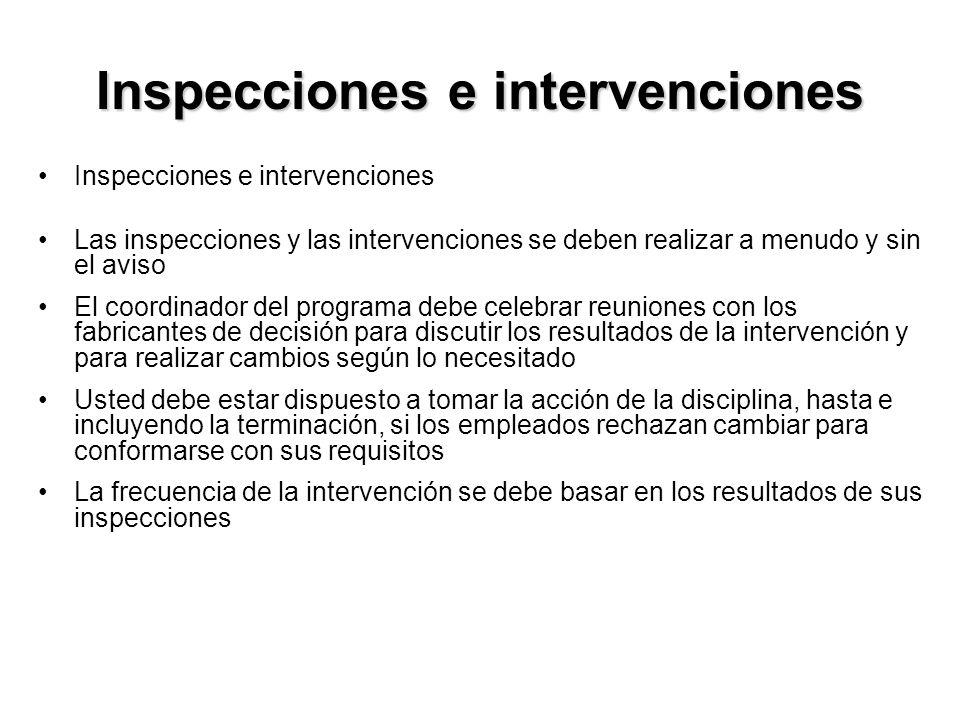 Inspecciones e intervenciones