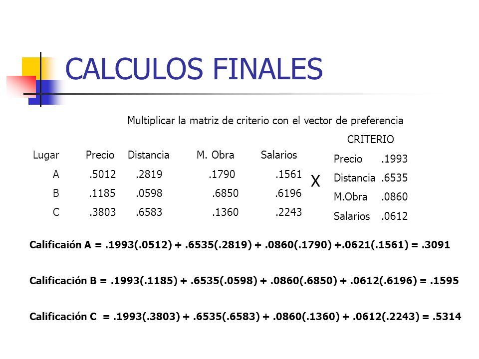 CALCULOS FINALES Multiplicar la matriz de criterio con el vector de preferencia. CRITERIO. Precio .1993.