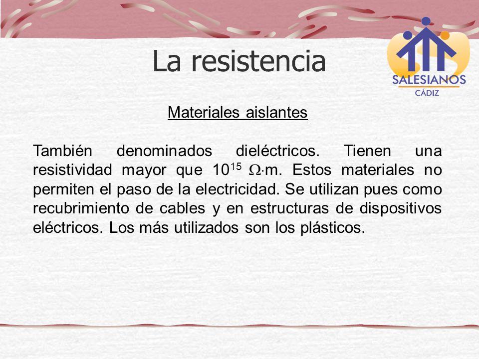 La resistencia Materiales aislantes