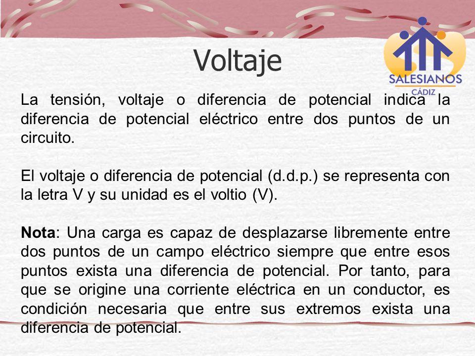 Voltaje La tensión, voltaje o diferencia de potencial indica la diferencia de potencial eléctrico entre dos puntos de un circuito.