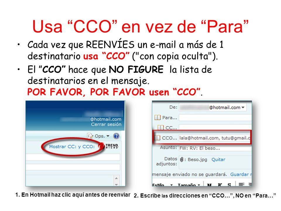 Usa CCO en vez de Para