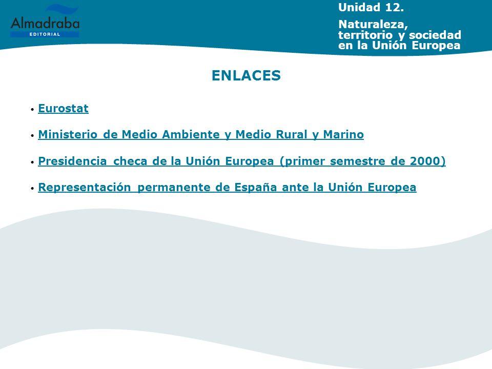 Unidad 12. Naturaleza, territorio y sociedad en la Unión Europea. ENLACES. Eurostat. Ministerio de Medio Ambiente y Medio Rural y Marino.