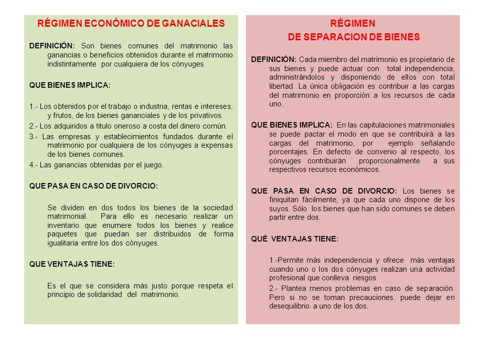 RÉGIMEN ECONÓMICO DE GANACIALES DE SEPARACION DE BIENES