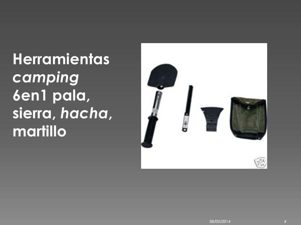 Herramientas camping 6en1 pala, sierra, hacha, martillo