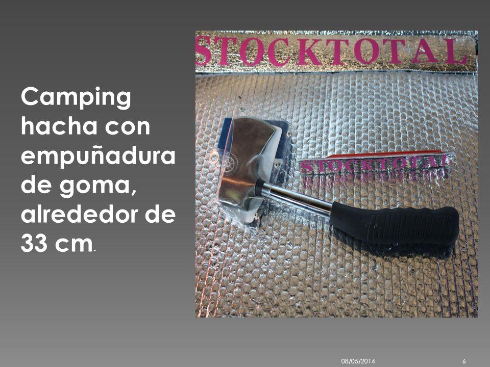 Camping hacha con empuñadura de goma, alrededor de 33 cm.