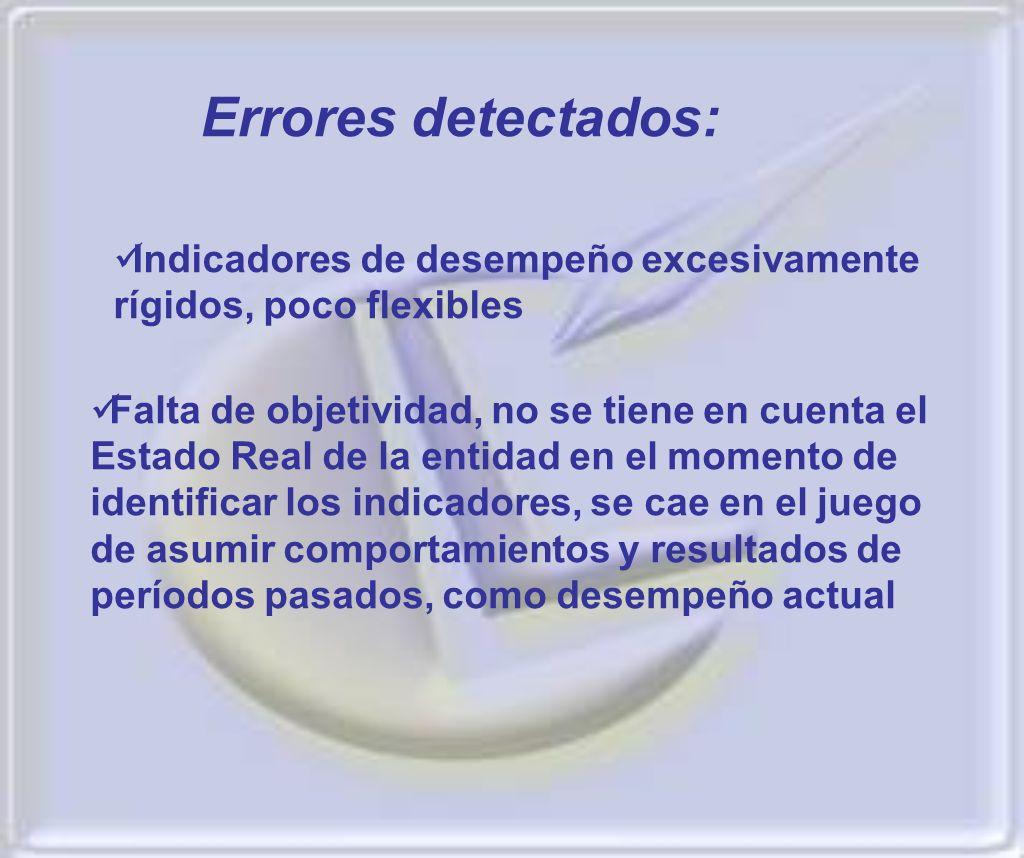 Errores detectados: Indicadores de desempeño excesivamente rígidos, poco flexibles.